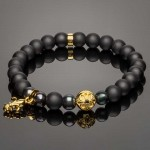 Wrist Bracelet with 14K Gold Plated Fleur-de-Lis Charm and Tahiti Pearls