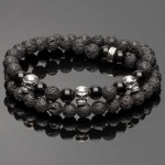 Double Wrap Lava Bracelet with 3 Silver Mini Skulls
