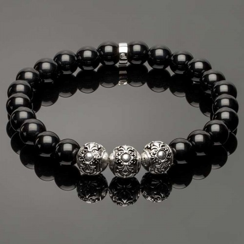 Elegant Black Bracelet with 3 Fleur de Lis Beads DB4