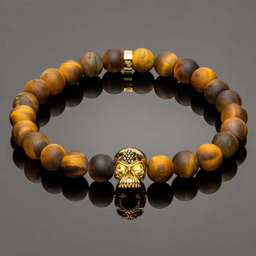 14k GOLD PLATED SOLID 925 SILVER SKULL AND MATTE TIGER EYE ELASTIC BRACELET DB5