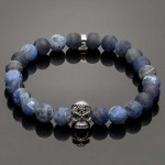 Men's Bracelet with Matte Sodalite Beads and Silver Skull