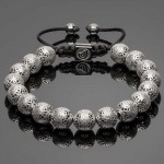 Silver Men's Bracelet with Indian Pattern Beads