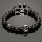 925 Solid SilverSkull, 925 Solid Disco Ball, Lava Stones & Onyx Bracelet DB9