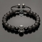 Silver Skull and Lava Men's Bracelet