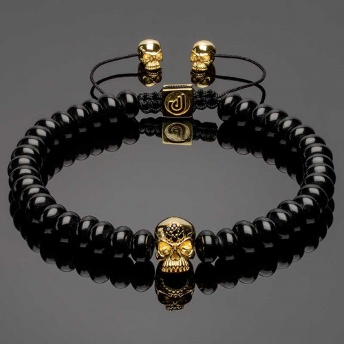 14k Gold Plated Solid 925 Silver Skull & Heishi Onyx Bracelet DB17