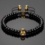 14K Gold Plated Skull Bracelet with Rounded Heishi Onyx Beads