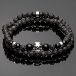 Double Wrap Lava Bracelet with Silver Skull and Spacers