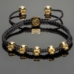 Macrame Bracelet with 14K Gold Plated Silver Mini Skulls