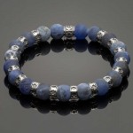 Men's Wristband with Matte Sodalite and Silver Fleur-de-Lis Spacers