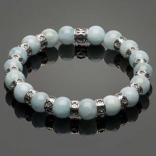 Men's Wristband with Aquamarine and Fleur-de-Lis Spacers DB29