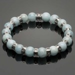 Men's Wristband with Aquamarine and Fleur-de-Lis Spacers