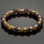 Men's Wristband with Matte Tiger Eye and Fleur-de-Lis Spacers