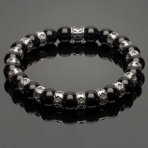Men's Wristband with Onyx and Fleur-de-Lis Spacers DB31