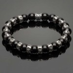 Men's Wristband with Onyx and Fleur-de-Lis Spacers