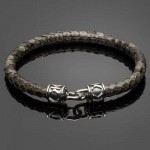 Grey Python Leather Bracelet with Signature Silver Clasp