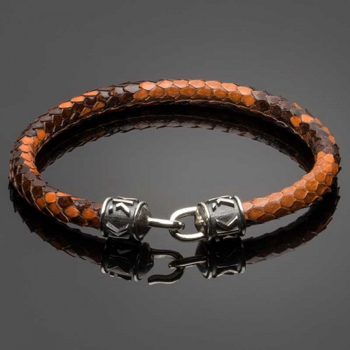 Brown Python Leather Bracelet with Signature Silver Clasp DL6