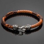 Brown Python Leather Bracelet with Signature Silver Clasp
