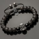 Side view of 925 Solid Silver Skull & Lava Stones Bracelet DB10