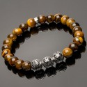 Side view of 925 Solid Silver Malaysian Beads & Tiger Eye Bracelet DB16