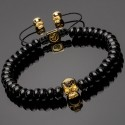 Side view of 14k Gold Plated Solid 925 Silver Skull & Heishi Onyx Bracelet DB17