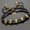 Side view of 14k Gold Plated Silver Mini Skulls Macrame Bracelet DM10