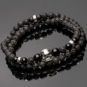 Side view of 925 Solid Silver Skull Double Wrap Bracelet DWR4