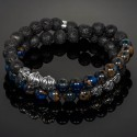 Double Wrap Blue Sandstone, Lava Bracelet with Silver Cross Beads