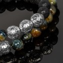 Double Wrap Golden Blue Tiger Eye, Lava Stones & Silver Malaysian Beads