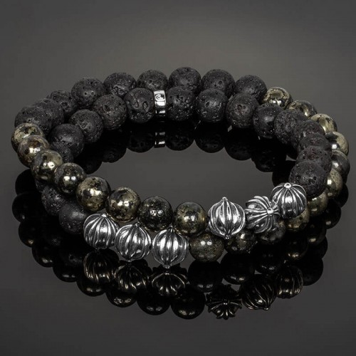 Double Wrap Black Gold Pyrite, Lava Stone & Silver Cross Beads