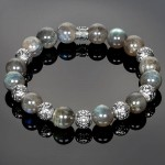 Silver Men's Bracelet with Iridescent Labradorite Beads
