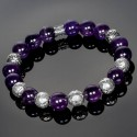 Amethyst Beaded Bracelet with Mixed Malaysian and Fleur de Lis Beads
