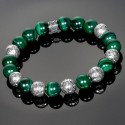 Malayesian Silver Beads with Alternating Malachite Beads Bracelet