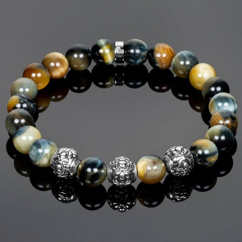 Men's Bracelet with Special Golden Blue Tiger Eye Beads and Silver Fleur-de-Lis Elements