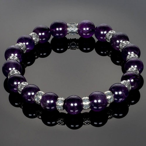 Amethyst Beaded Bracelet enriched with Silver Fleur-de-Lis Spacers