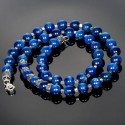 Men's Necklace with Kyanite beads and Silver Fleur-de-Lis Spacers