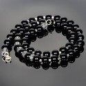 Black Mens Necklace with Onyx Beads and Silver Fleur-de-Lis Spacers